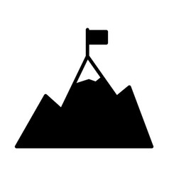 mountains with flag on peak icongoal achievement vector image