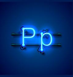 Neon font letter p art design singboard vector