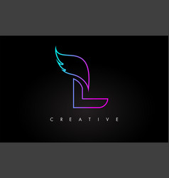 Neon l letter logo icon design with creative wing vector