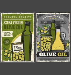 Olive oil bottles pickled green fruits can or jar vector