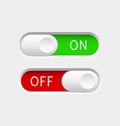 On and off slider buttons red and green switch vector