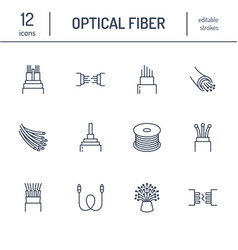 Optical fiber flat line icons network connection vector