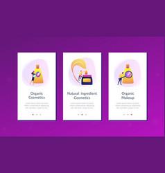 Organic cosmetics app interface template vector