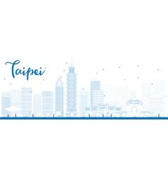 Outline Taipei skyline with blue landmarks vector