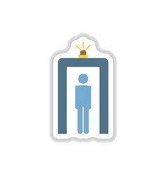 Paper sticker on white background airport people vector