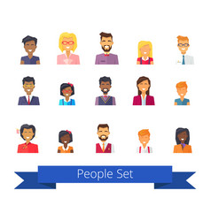 people set of icons on white vector image