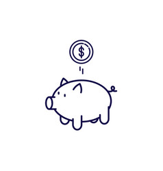 piggy bank icon outline style moneybox vector image