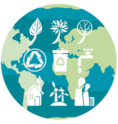 planet earth depicting symbols ecology vector image