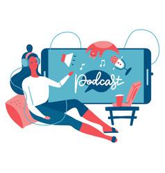 podcast listening concept webinar online training vector image