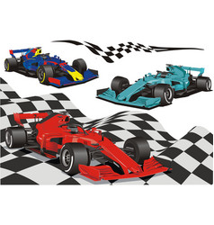 racing cars on background checkered vector image