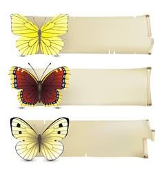 Retro butterfly banners2 vector