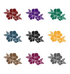 rose of sharon icon in black style isolated o vector image