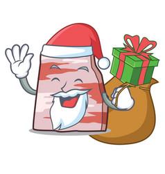 Santa with gift pork lard mascot cartoon vector