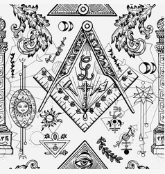 Seamless background with freemason symbols vector
