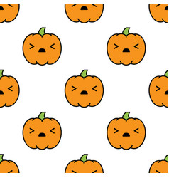 seamless halloween pattern with scared kawaii vector image