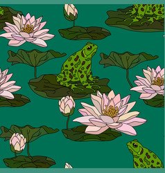 Seamless pattern with water lily vector