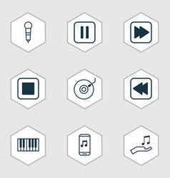 Set of 9 audio icons includes stop button vector