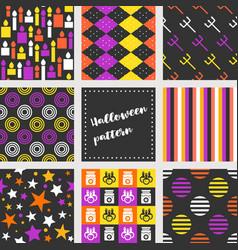 Set of halloween seamless pattern flat design vector