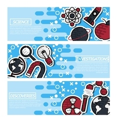 Set of Horizontal Banners about Science vector