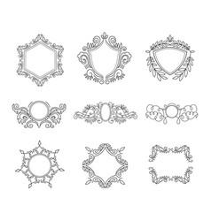 set of line monograms vintage floral frames vector image