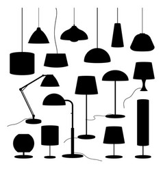 silhouettes household lamp floor vector image
