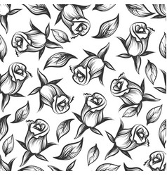 sketched rose and leaves seamless pattern vector image