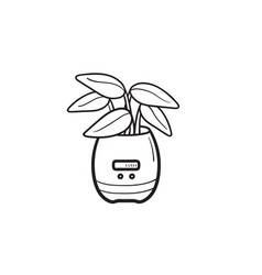 smart plant pot hand drawn outline doodle icon vector image