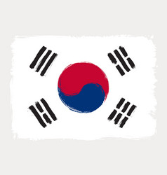 South korea flag drawn in grunge painting style vector