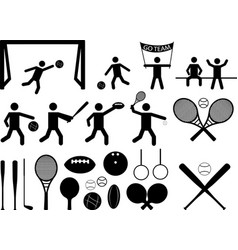 Sport pictograph people and objects vector