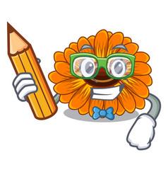 Student calendula flowers in a cartoon basket vector