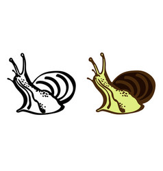 stylized snail drawing vector image