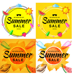 summer sale banners scribble circle background vector image