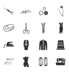 Tailoring icons set vector image