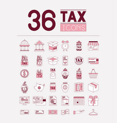 Tax time set icons vector