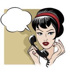 The girl speaking by phone with empty speech vector image