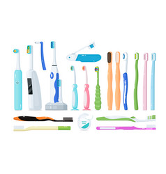 Toothbrush for dental care and oral hygiene set vector