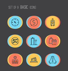 Travel icons set with compass holiday gift card vector