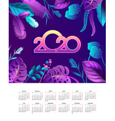 tropical calendar 2020 jungle vector image