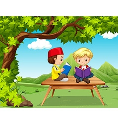 Two boys reading books in the park vector image