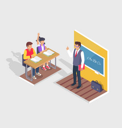 Two students boy and girl sit at desk teacher vector