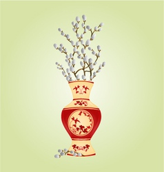 Vase porcelain with branch pussy willow spring vector