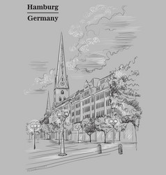 view of the church hauptkirche sankt petri in vector image