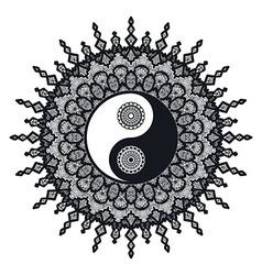 Vintage yin and yang in mandala vector
