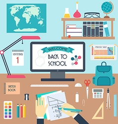 Welcome to school Back to scholl Workplace Flat vector image