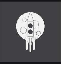 White icon on black background rocket and moon vector