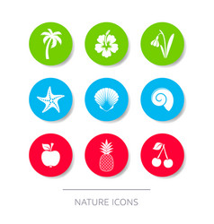 White nature icons collection buttons vector