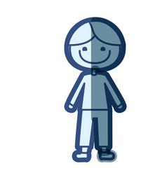 blue color silhouette cartoon kid icon vector image vector image