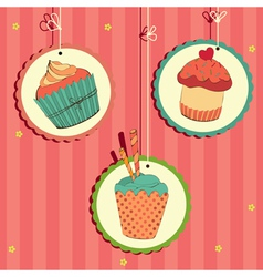 cakes in frame on the string vector image vector image