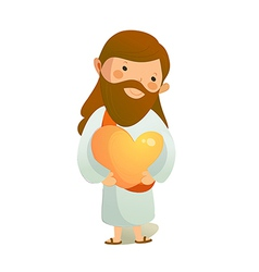 Close-up of Jesus Christ holding heart shape vector image