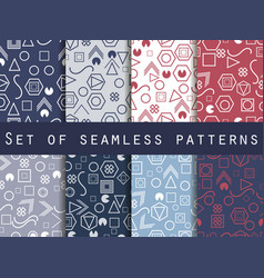 geometric seamless patterns memphis style 80s vector image vector image